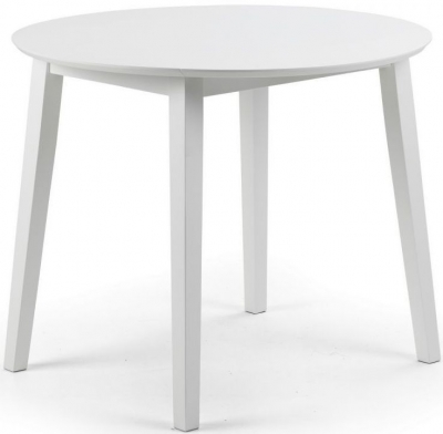 Julian Bowen Coast White Round Extending Drop Leaf Dining Table