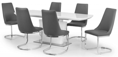 Julian Bowen Como White High Gloss Extending Dining Table and chairs