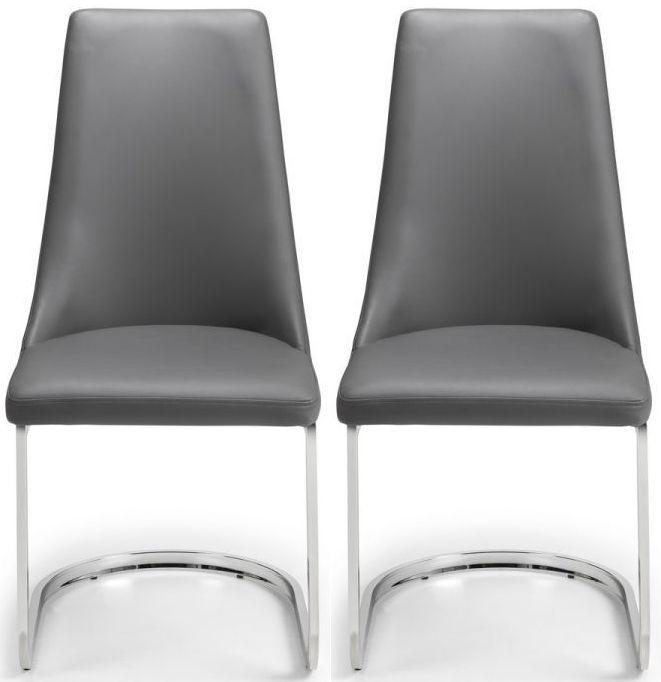 Julian Bowen Como Cantilever Grey Faux Leather Dining Chair (Pair)