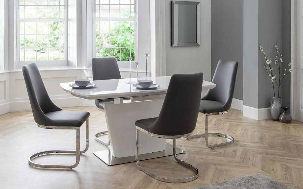 Julian Bowen Como White High Gloss Extending Dining Table and 4 Grey Faux Leather Chair