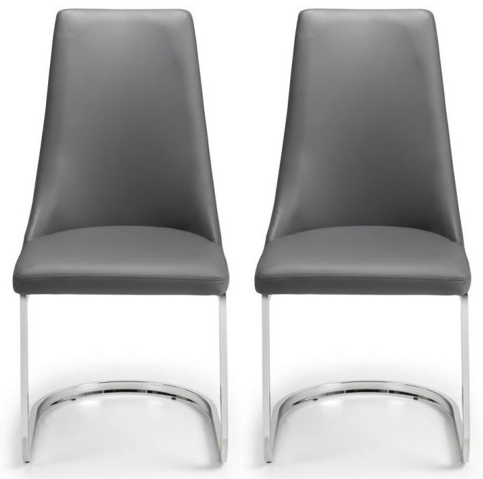 Julian Bowen Como Grey Faux Lether Cantelever Dining Chair (Pair)
