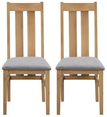 Julian Bowen Cotswold Oak Fabric Dining Chair (Pair)