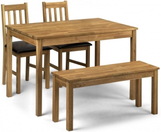 Julian Bowen Coxmoor Oak Dining Table with 2 Chairs and Bench