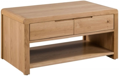 Julian Bowen Curve Oak 2 Drawer Coffee Table