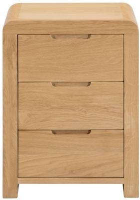 Julian Bowen Curve Oak 3 Drawer Bedside Cabinet
