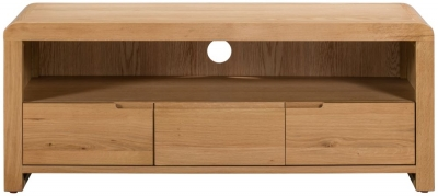 Julian Bowen Curve Oak 3 Drawer TV Unit