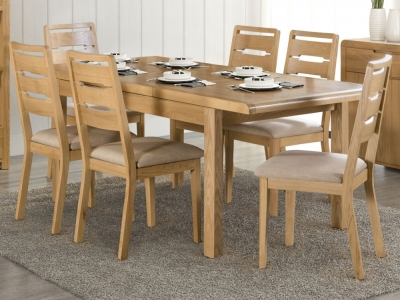 Julian Bowen Curve Oak Extending Dining Table and Chairs