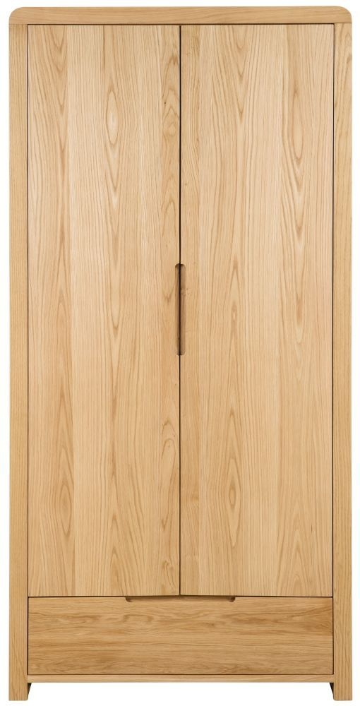 Julian Bowen Curve Oak 2 Door 1 Drawer Wardrobe