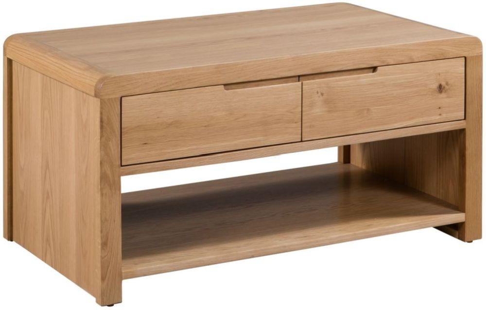 Julian Bowen Curve Oak 2 Drawer Coffee Table