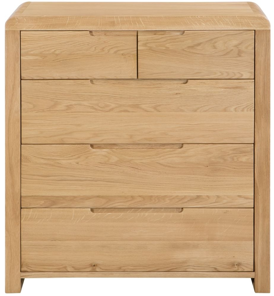 Julian Bowen Curve Oak 3+2 Drawer Chest