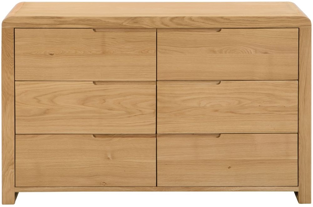 Julian Bowen Curve Oak 6 Drawer Wide Chest