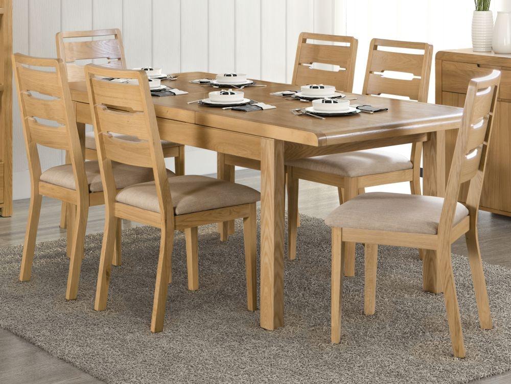 Julian Bowen Curve Oak Extending Dining Table And Chairs Cfs Furniture Uk