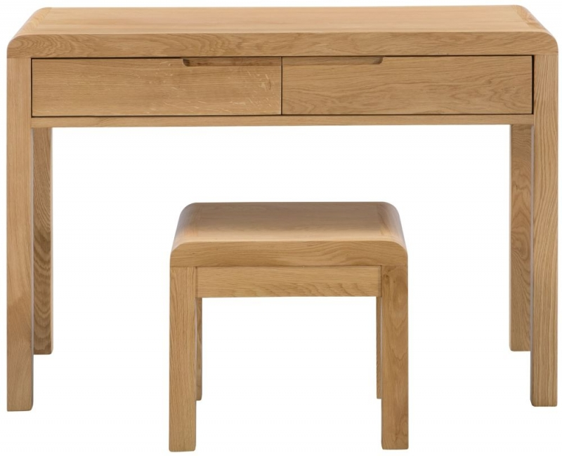 Julian Bowen Curve Oak 2 Drawer Dressing Table and Stool