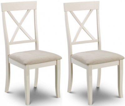 Julian Bowen Davenport Oak and Ivory Painted Fabric Dining Chair (Pair)