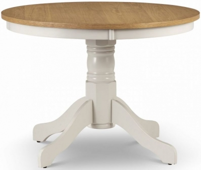 Julian Bowen Davenport Oak and Ivory Painted Round Dining Table