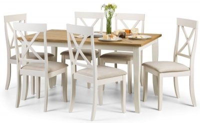 Julian Bowen Davenport Oak and Ivory Painted Dining Table and 6 Chairs