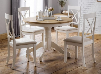 Julian Bowen Davenport Oak and Ivory Painted Round Dining Table and 4 Chairs