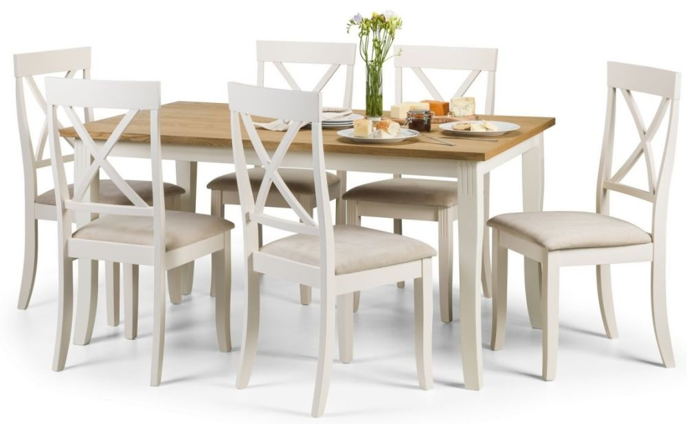 Julian Bowen Davenport Dining Table and 6 Chairs - Oak and Painted