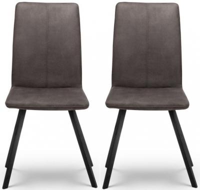 Julian Bowen Monroe Charcoal Grey Fabric Dining Chair (Pair)