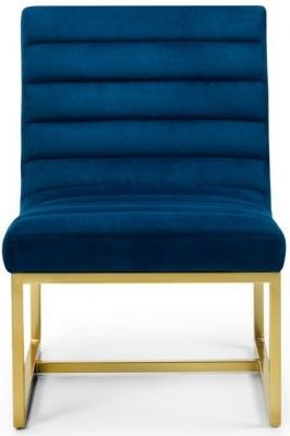 Julian Bowen Bellagio Blue and Gold Velvet Chair