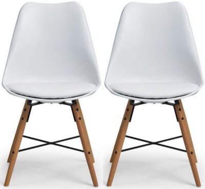 Julian Bowen Kari Oak and White Faux Leather Dining Chair (Pair)