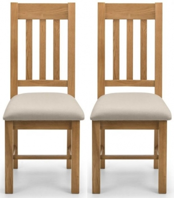 Julian Bowen Hereford Waxed Oak and Taupe Linen Dining Chair (Pair)