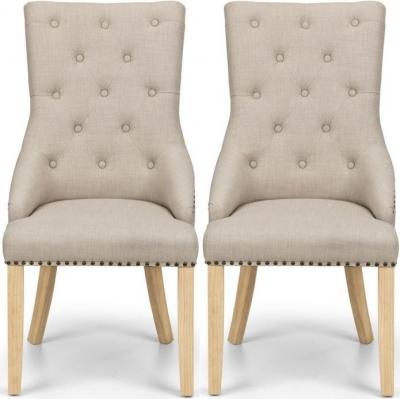 Julian Bowen Loire Oatmeal Linen Fabric Dining Chair (Pair)