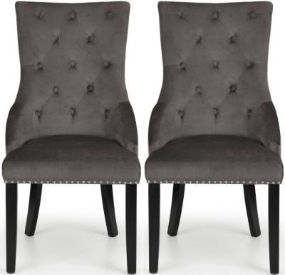 Julian Bowen Veneto Grey Velvet Knockerback Dining Chair (Pair)