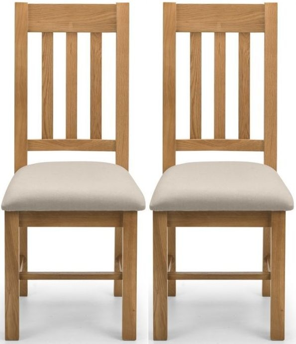 Julian Bowen Hereford Taupe and Oak Dining Chair (Pair)