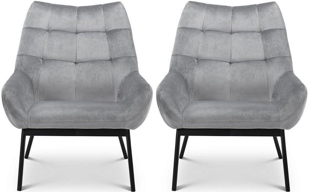 Julian Bowen Lucerne Grey Velvet Dining Chair (Pair)