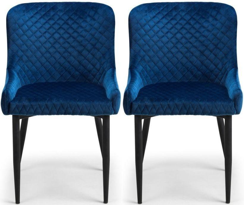 Julian Bowen Luxe Blue and Black Velvet Dining Chair (Pair)