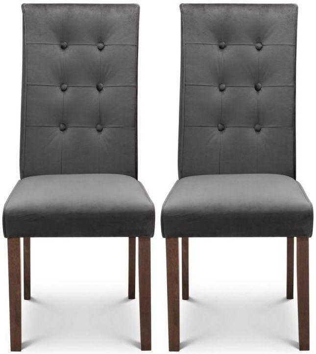Julian Bowen Madrid Walnut and Grey Velvet Dining Chair (Pair)