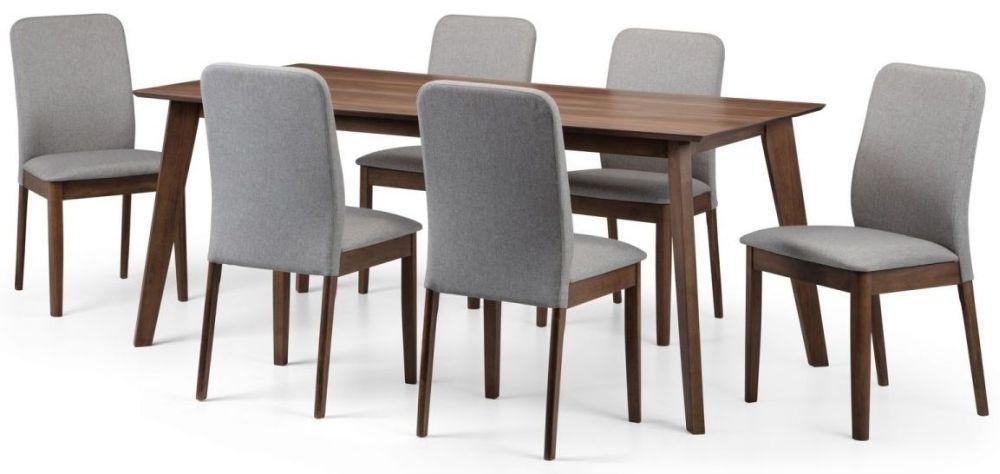 Julian Bowen Berkeley Walnut Dining Table and 6 Chairs