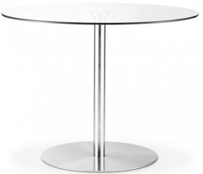 Julian Bowen Milan Glass and Chrome Pedestal Round Dining Table