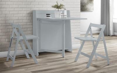 Julian Bowen Helsinki Compact Light Grey Dining Table and 2 Folding Chairs