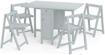 Julian Bowen Savoy Light Grey Dining Table and 4 Chairs