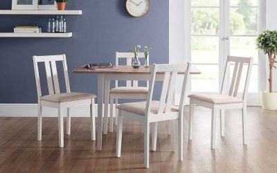Julian Bowen Rufford 2 Tone Extending Dining Table and 4 Ivory Chairs