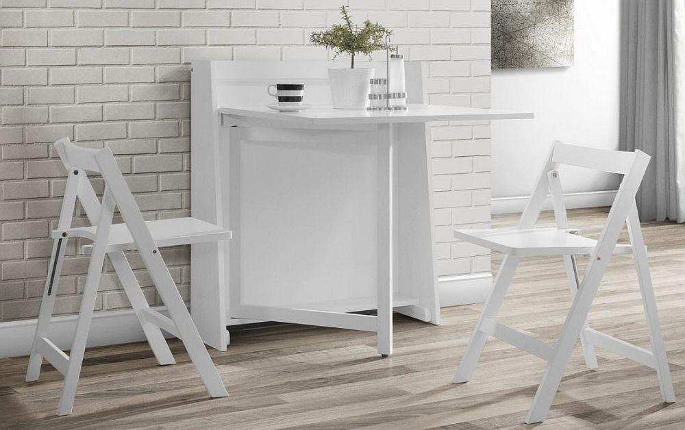 Julian Bowen Helsinki White Dining Table and 2 Folding Chairs