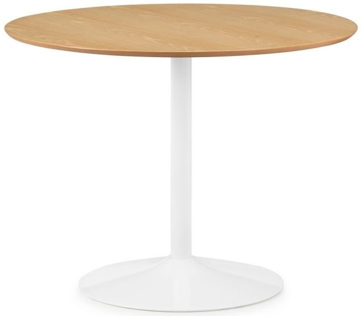 Julian Bowen Blanco Oak and White Round Pedestal Dining Table