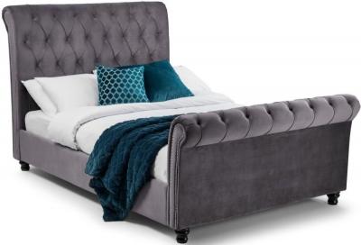 Julian Bowen Valentino Grey Velvet Bed