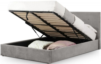 Julian Bowen Shoreditch Slate Grey Velvet Lift-Up Storage Bed