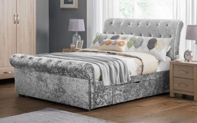 Julian Bowen Verona Silver Velvet Storage Bed