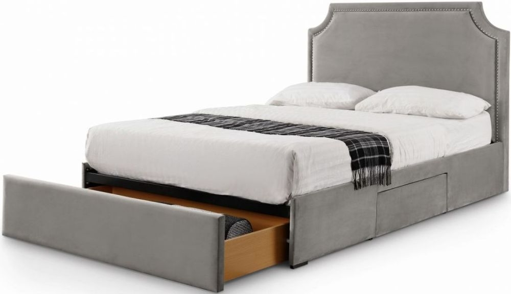 Julian Bowen Mayfair Slate Grey Velvet Storage Bed