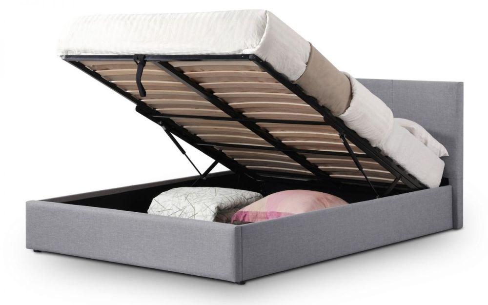 Julian Bowen Rialto Light Grey Fabric Lift-Up Ottoman Storage Bed