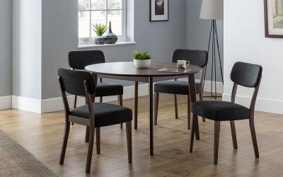 Julian Bowen Farringdon Circular Dining Table and 4 Grey Chairs
