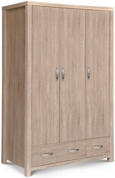 Julian Bowen Hamilton Sonoma Oak 3 Door 2 Drawer Triple Wardrobe