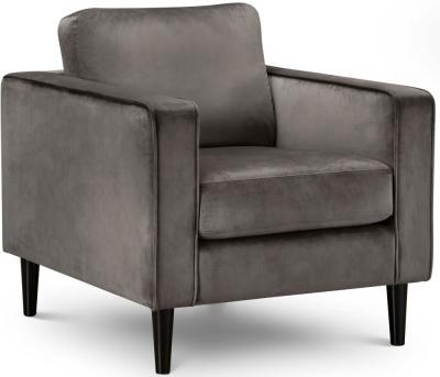 Julian Bowen Hayward Grey Velvet Armchair