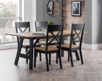 Julian Bowen Hockley Oak and Black Dining Table with 4 Chairs