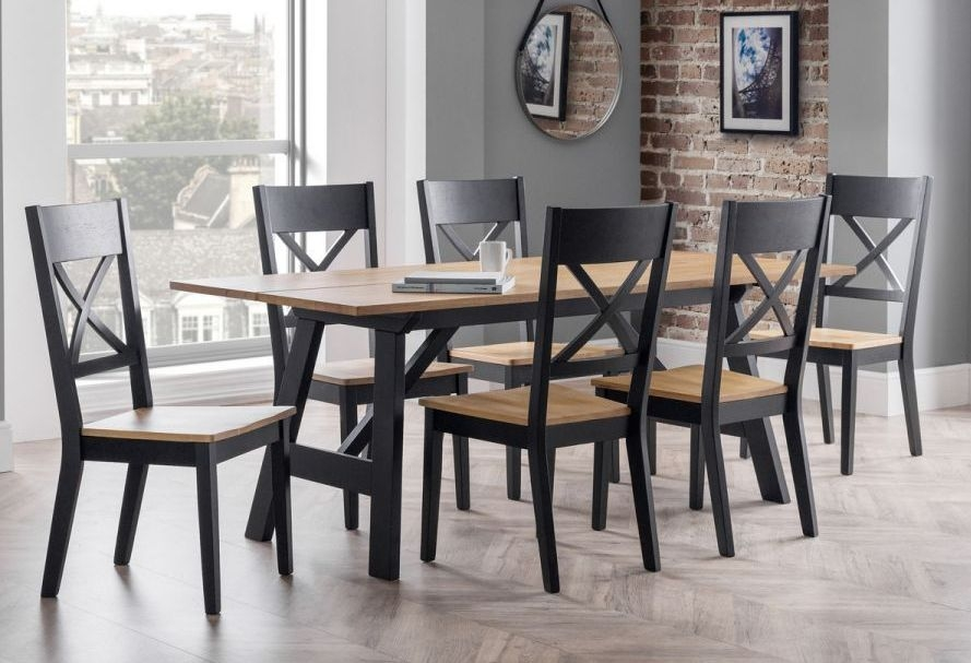 Julian Bowen Hockley Oak and Black Dining Table with 6 Chairs