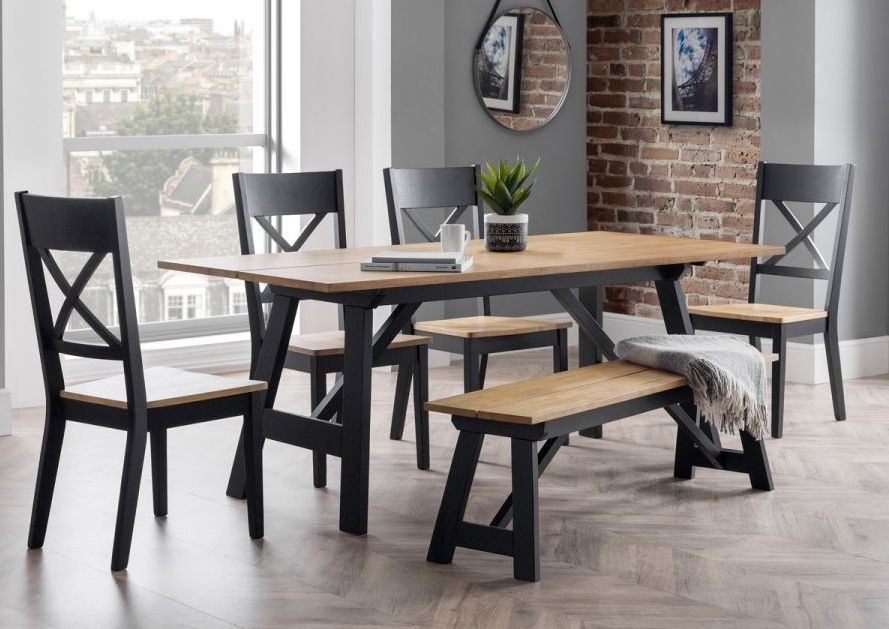 Julian Bowen Hockley Oak and Black Dining Table with 4 Chairs and 1 Bench
